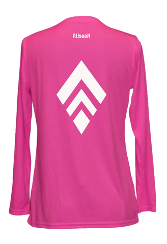 Women's Reflective Long Sleeve Shirt - Broken Diamond - Back - Neon Pink