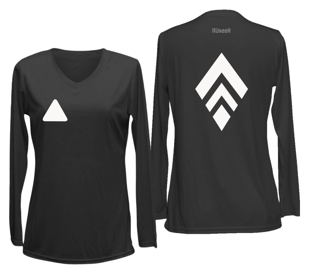 Women's Reflective Long Sleeve Shirt - Broken Diamond - Front & Back - Black