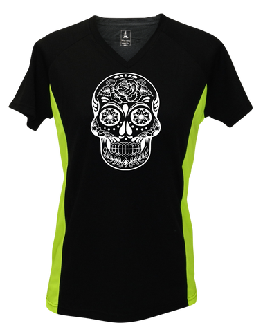WOMEN'S REFLECTIVE SHORT SLEEVE – CALAVERA - Front – Black & Lime