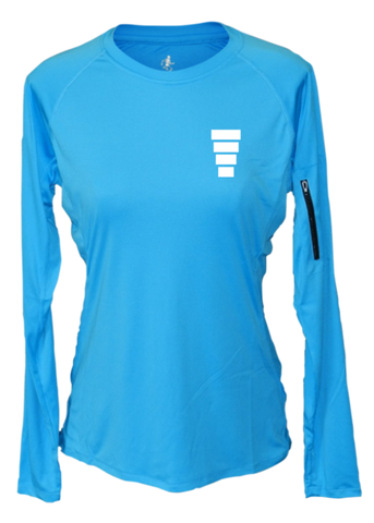 WOMEN'S REFLECTIVE LONG SLEEVE CREW NECK – BLOCK – Front - Bright Blue