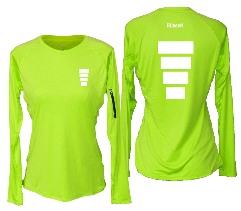 WOMEN'S REFLECTIVE LONG SLEEVE CREW NECK – BLOCK – Front & Back – Lime Yellow