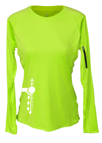 WOMEN'S REFLECTIVE LONG SLEEVE CREW NECK – PATHS – Front - Lime Yellow