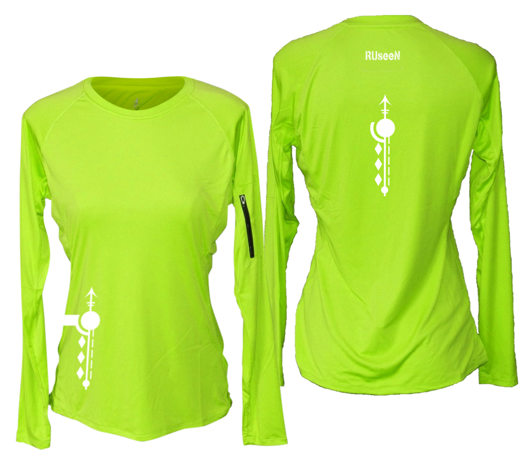 WOMEN'S REFLECTIVE LONG SLEEVE CREW NECK – PATHS – Front & Back – Lime Yellow