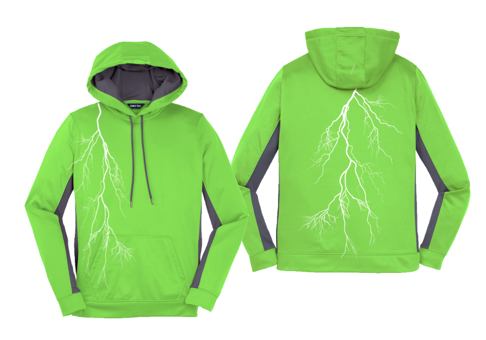 Women's Reflective Pullover Hoodie Sweatshirt - Lightning - Lime front & back