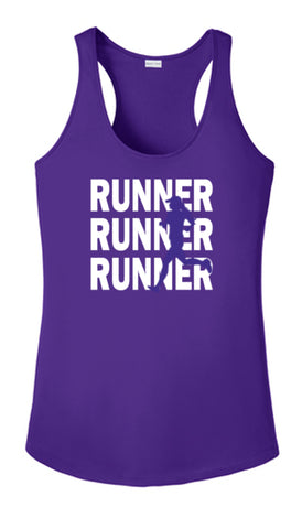 WOMEN'S REFLECTIVE TANK TOP SHIRT –  RUNNERS - Front - Dark Purple