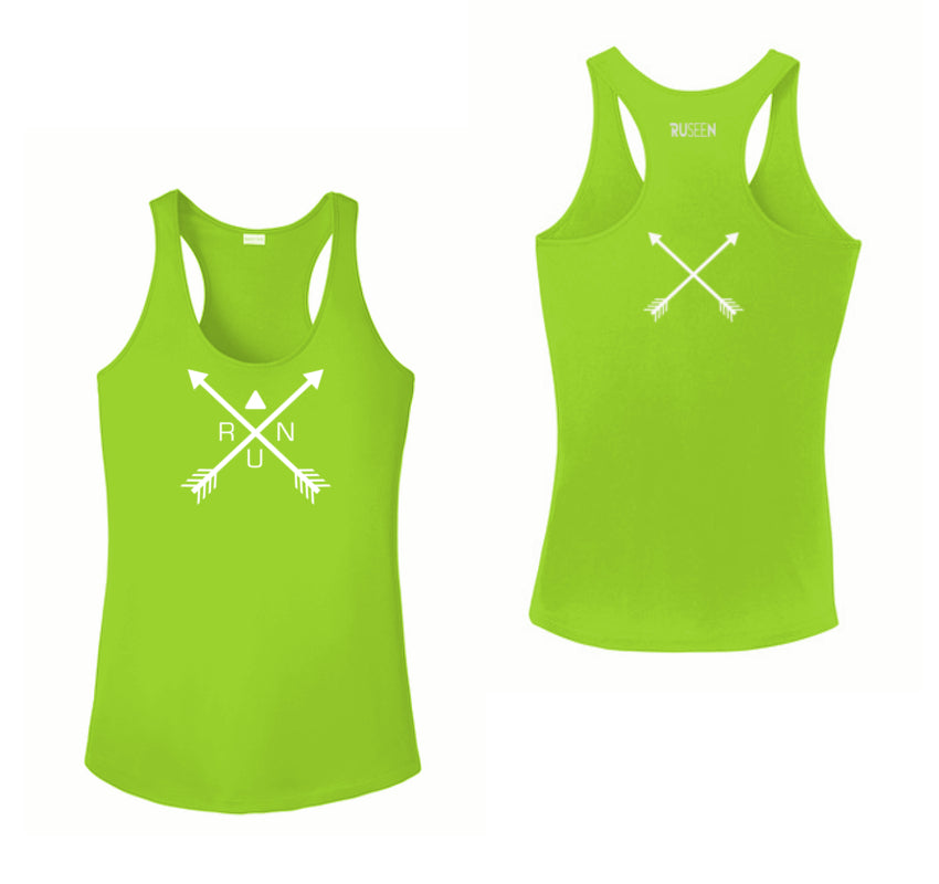 Women's Reflective Tank Top - Crossed Arrows - Lime Green