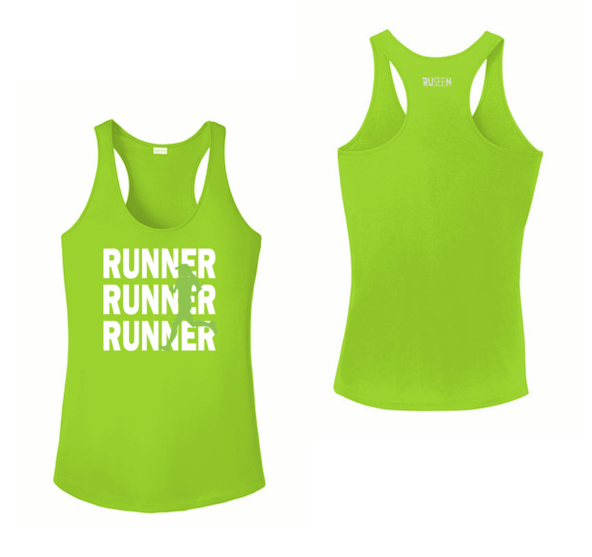 WOMEN'S REFLECTIVE TANK TOP SHIRT –  RUNNERS - Front & Back - Lime Green