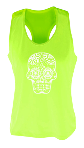 WOMEN'S REFLECTIVE TANK TOP SHIRT –  SUGAR SKULL - Front - Lime Yellow
