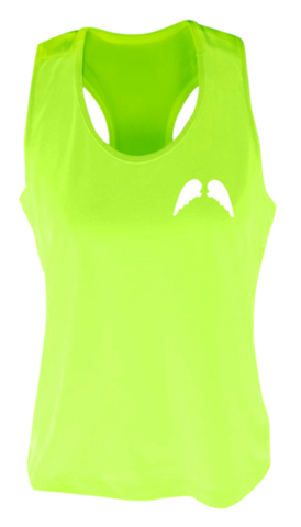 WOMEN'S REFLECTIVE TANK TOP SHIRT –  WINGS - Front - Lime Yellow