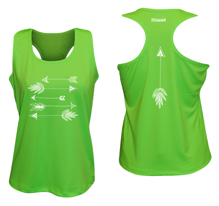 WOMEN'S REFLECTIVE TANK TOP SHIRT –  ARROWS - Front & Back –  Neon Green
