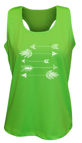 WOMEN'S REFLECTIVE TANK TOP SHIRT –  ARROWS - Front - Neon Green
