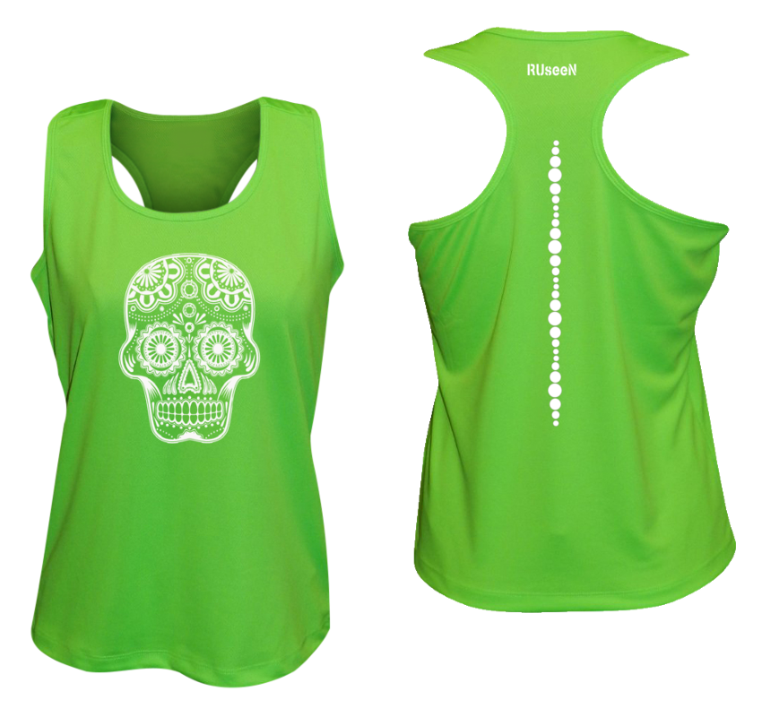 WOMEN'S REFLECTIVE TANK TOP SHIRT –  SUGAR SKULL - Front & Back –  Neon Green