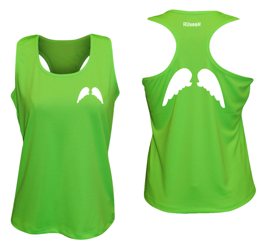 WOMEN'S REFLECTIVE TANK TOP SHIRT –  WINGS - Front & Back –  Neon Green