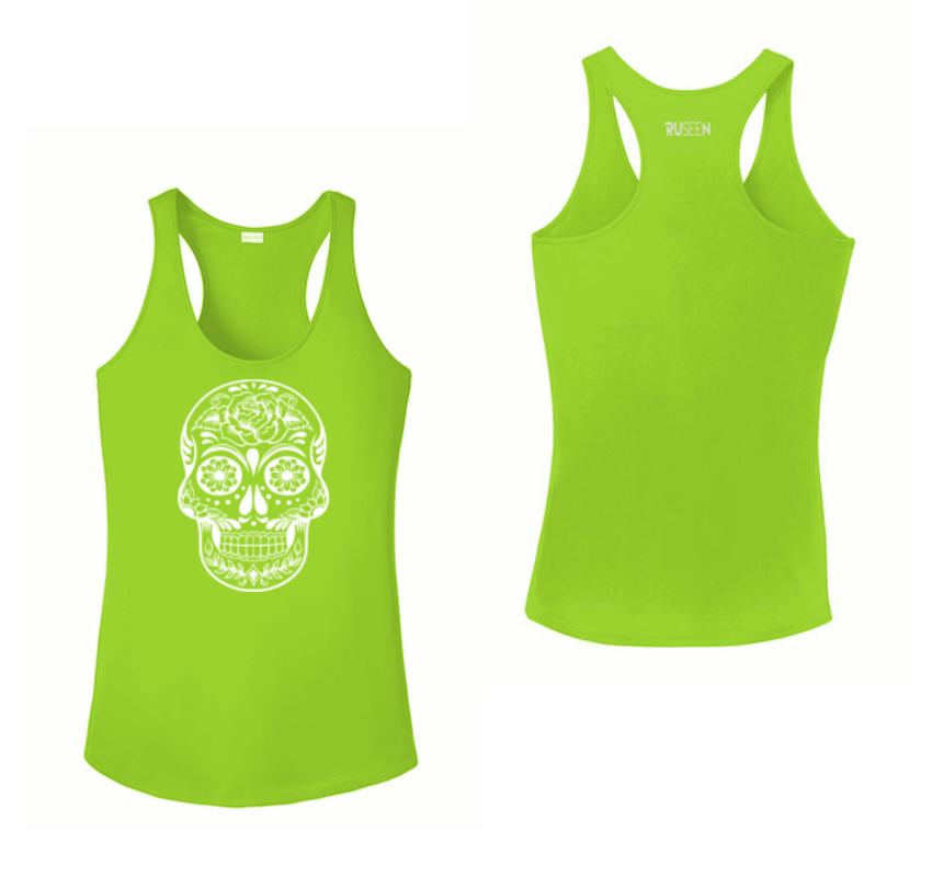 WOMEN'S REFLECTIVE TANK TOP – CALAVERA - Front & Back – Lime Green