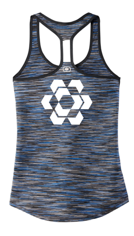 Women's Reflective Tank Top - Fractured Hexagon - Back - Blue Space Dye