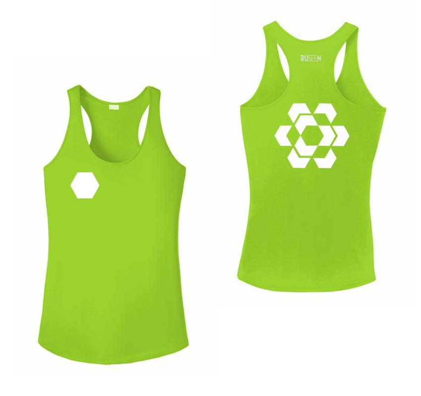 Women's Reflective Tank Top - Fractured Hexagon - Front & Back - Lime Green