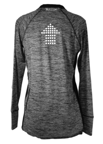 Women's Reflective Long Sleeve Quarter Zip - Dotted Arrows - Black Heather back