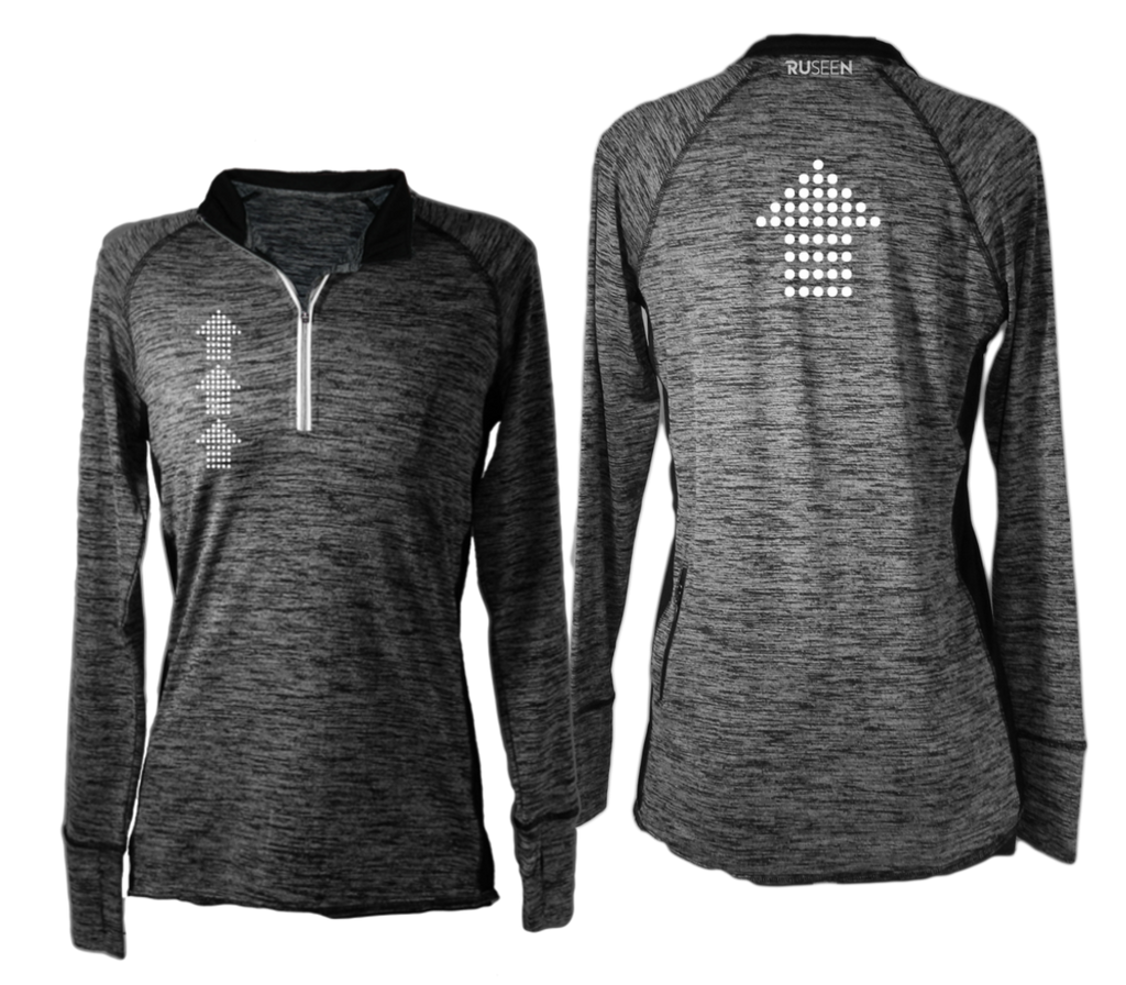 Women's Reflective Long Sleeve Quarter Zip - Dotted Arrows - Black Heather