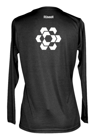Women's Reflective Long Sleeve - Fractured Hexagon - Black back