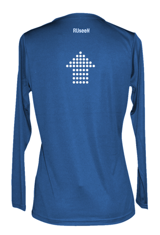 Women's Reflective Long Sleeve - Dotted Arrows - Electric Blue back