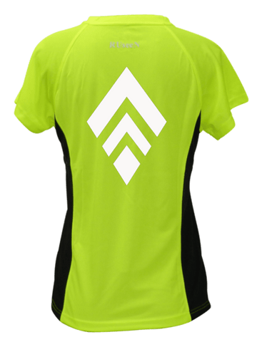 WOMEN'S REFLECTIVE SHORT SLEEVE SHIRT - BROKEN DIAMOND - Front - Lime with Black Sides