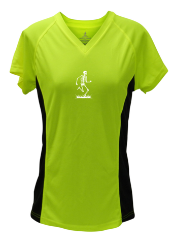 WOMEN'S REFLECTIVE SHORT SLEEVE SHIRT –  SKELETON - Front - Lime with Black Sides