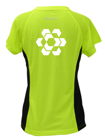 Women's Reflective Short Sleeve - Fractured Hexagon - Back - Lime with Black Sides