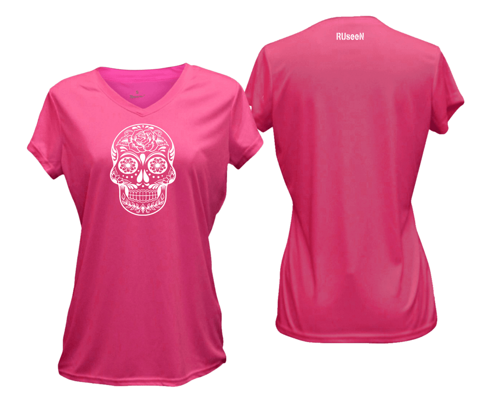 WOMEN'S REFLECTIVE SHORT SLEEVE – CALAVERA - Front & Back – Neon Pink