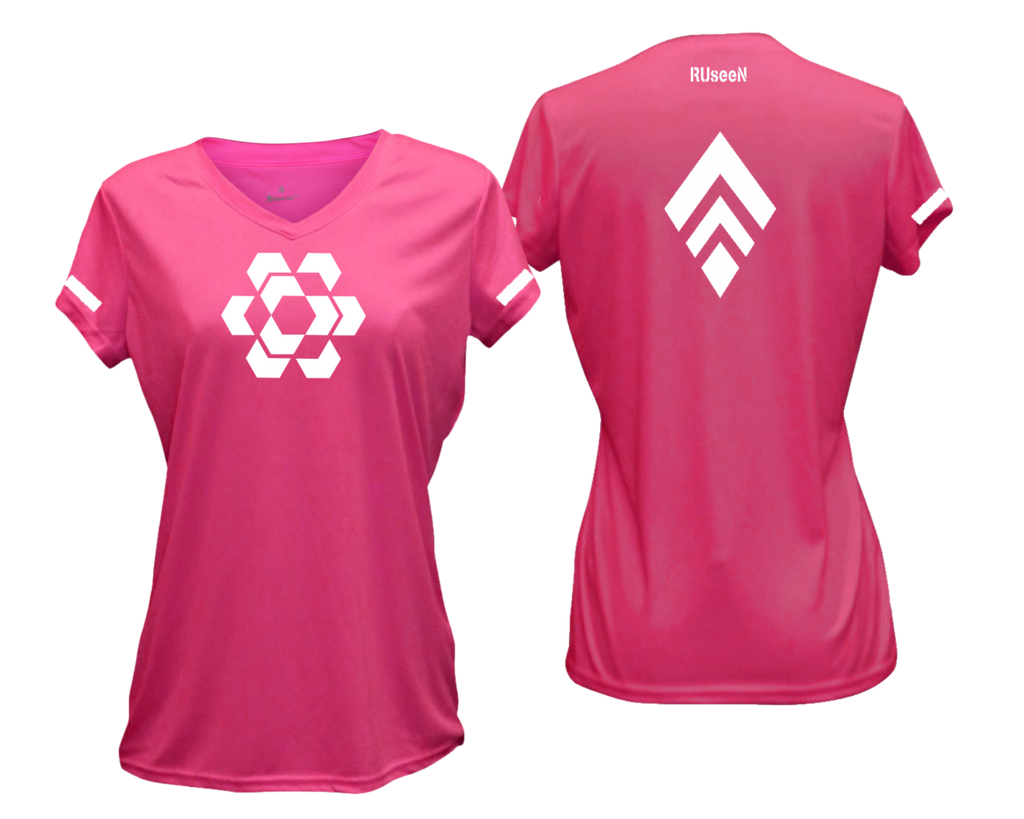 Women's Reflective Short Sleeve - Diamond Hex Combo - Front & Back - Neon Pink
