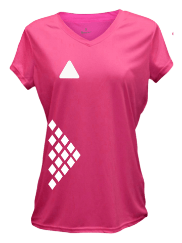 WOMEN'S REFLECTIVE SHORT SLEEVE SHIRT - DIAMOND PATTERN - Front - Neon Pink