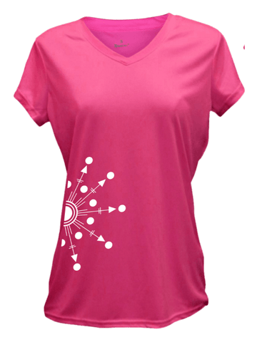WOMEN'S REFLECTIVE SHORT SLEEVE SHIRT - DIRECTIONS - Front - Neon Pink