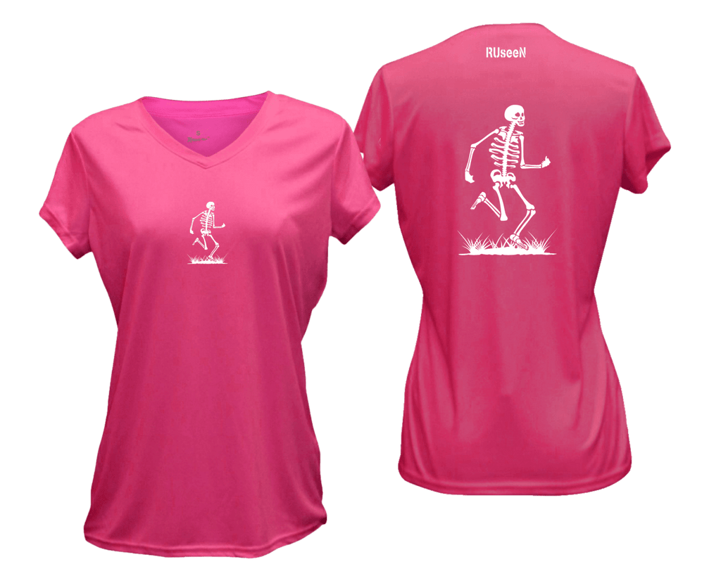 WOMEN'S REFLECTIVE SHORT SLEEVE SHIRT –  SKELETON - Front & Back –  Neon Pink