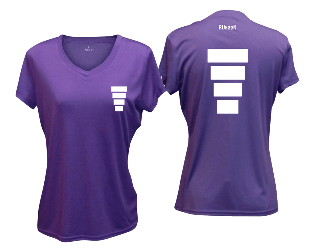 WOMEN'S REFLECTIVE SHORT SLEEVE SHIRT –  BLOCK - Front & Back –  Dark Purple