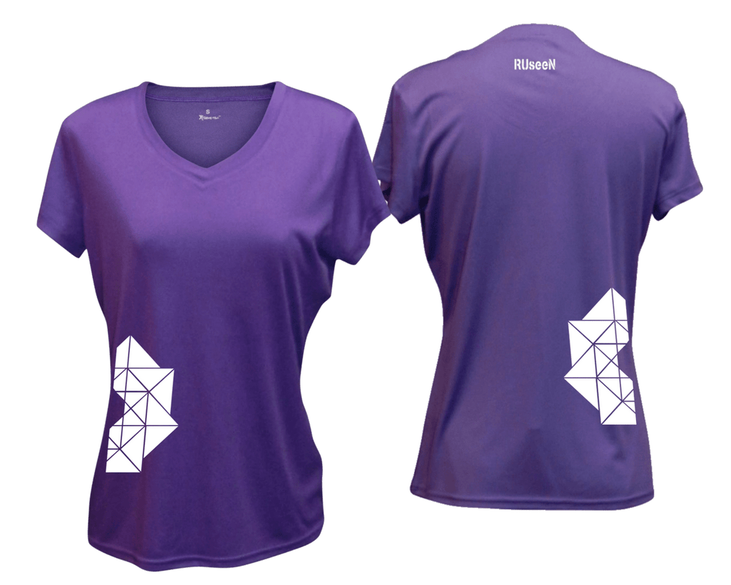 WOMEN'S REFLECTIVE SHORT SLEEVE SHIRT - GEOMETRIC - Front & Back - Dark Purple