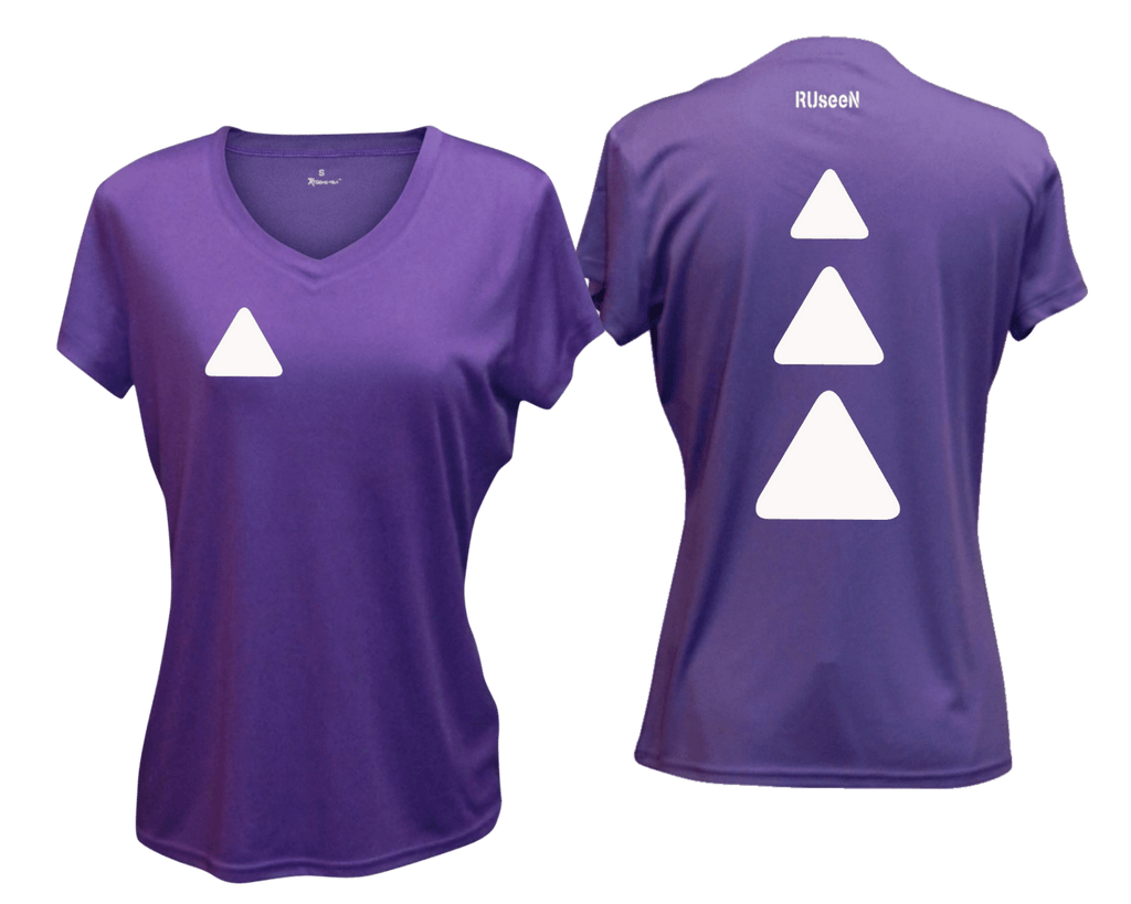 WOMEN'S REFLECTIVE SHORT SLEEVE SHIRT - TRIANGLES - Front & Back - Dark Purple