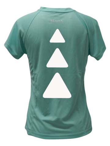 WOMEN'S REFLECTIVE SHORT SLEEVE SHIRT - TRIANGLES - Back - Sea Green