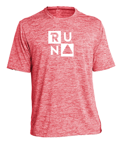 MEN'S REFLECTIVE SHORT SLEEVE SHIRT –  RUN SQUARED - Front - Red Heather