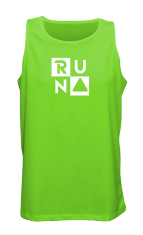 MEN'S REFLECTIVE TANK TOP – RUN SQUARED - Front - Neon Green