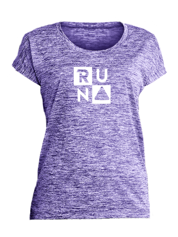 WOMEN'S REFLECTIVE SHORT SLEEVE SHIRT –  RUN SQUARED - Front - Purple Heather