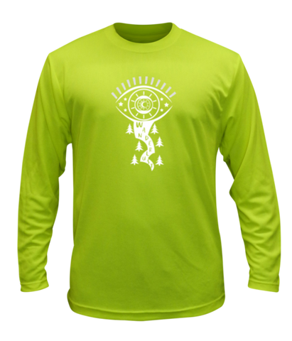 074d7885 UNISEX REFLECTIVE LONG SLEEVE SHIRT – WANDERLUST – Front - Lime Yellow