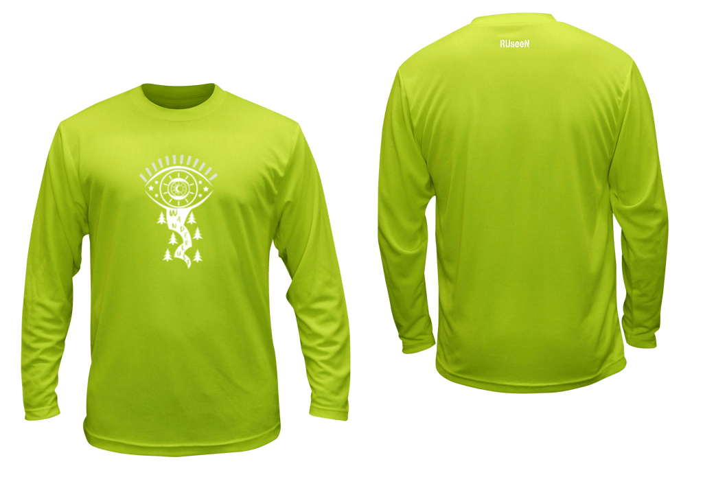 UNISEX REFLECTIVE LONG SLEEVE SHIRT – WANDERLUST – Front & Back – Lime Yellow