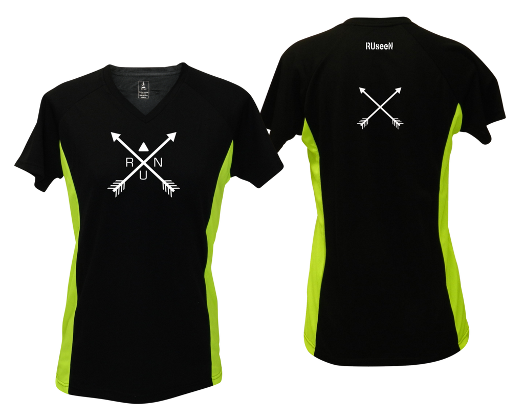 WOMEN'S REFLECTIVE SHORT SLEEVE SHIRT –  CROSSED ARROWS - Front & Back –  Black & Lime