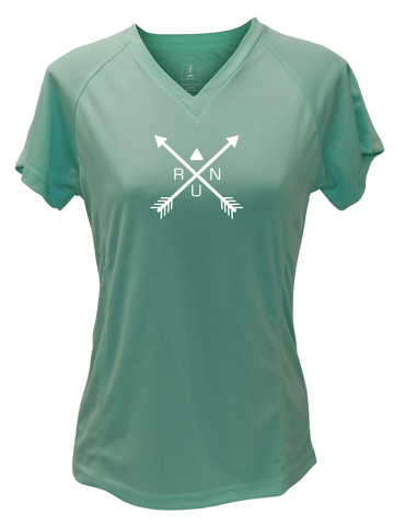 WOMEN'S REFLECTIVE SHORT SLEEVE SHIRT –  CROSSED ARROWS - Front - Sea Green