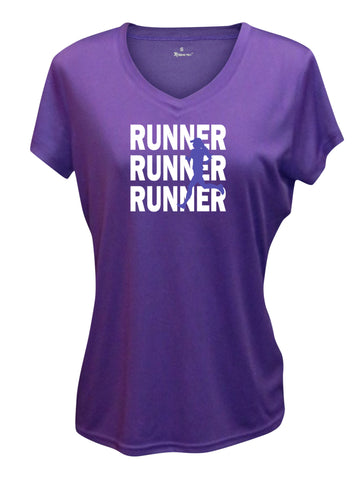 Women's Reflective Short Sleeve Shirt - RUNNERS - Dark Purple Front