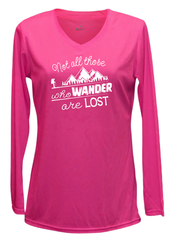 Women's Reflective Long Sleeve Shirt - Wander - Neon Pink front
