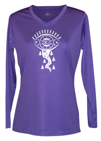 WOMEN'S REFLECTIVE LONG SLEEVE SHIRT – WANDERLUST – Front - Dark Purple