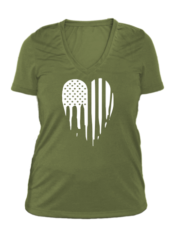 Women's Reflective Short Sleeve Shirt - American Heart - Made in USA