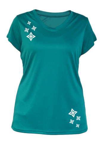 WOMEN'S REFLECTIVE SHORT SLEEVE SHIRT –  RISING STARS - Front - Teal