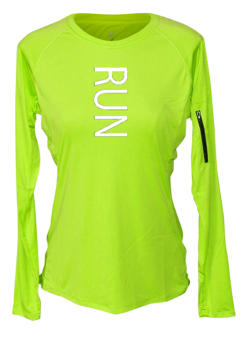 WOMEN'S REFLECTIVE LONG SLEEVE CREW NECK – RUN – Front - Lime Yellow