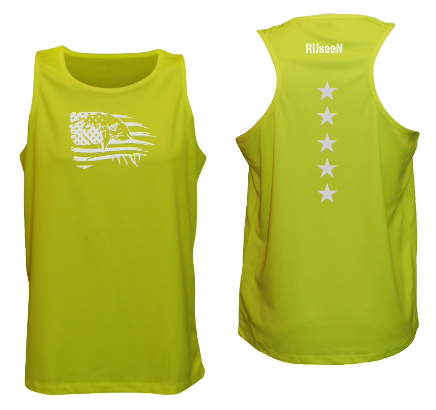 Men's Reflective Tank Top - Eagle Flag - Lime Yellow